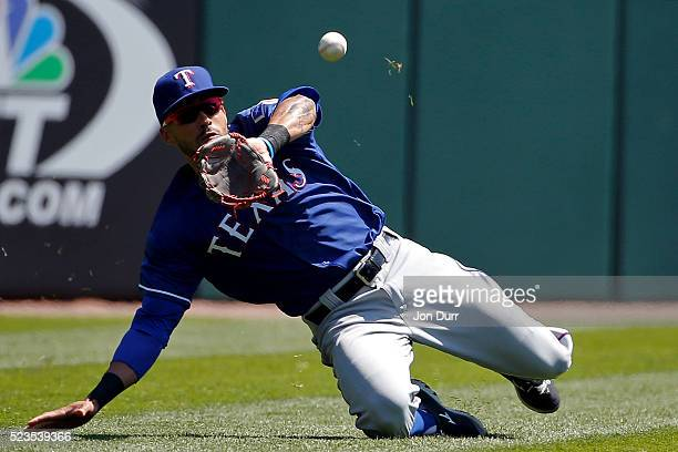Ian Desmond of the Texas Rangers makes a catch for an out during the first inning against the Chicago White Sox at US Cellular Field on April 23 2016...