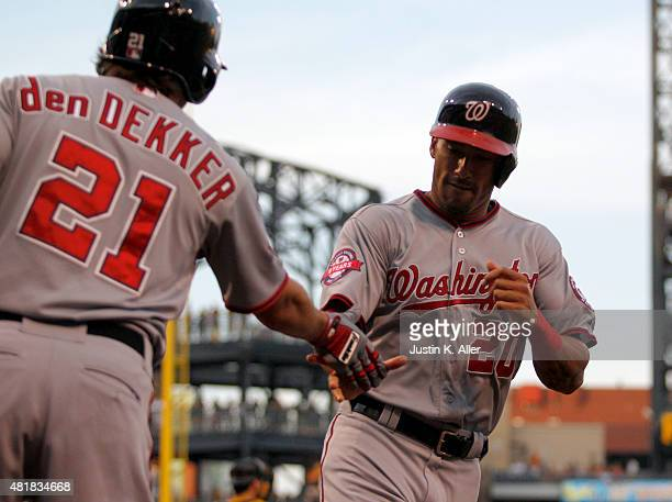 Ian Desmond of the Washington Nationals celebrates after scoring on a RBI single in the fourth inning during the game against the Pittsburgh Pirates...