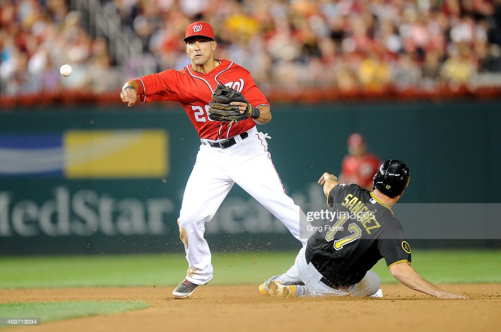 Ian Desmond #20 of the Washington Nationals forces out Gaby Sanchez #17 of the Pittsburgh Pirates to start a double play in the eighth inning at Nationals Park on August 16, 2014 in Washington, DC.