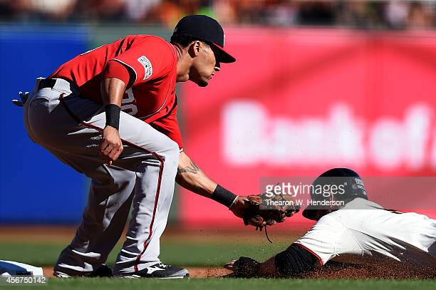 Ian Desmond of the Washington Nationals gets the out on Brandon Belt of the San Francisco Giants as he attempts to steal in the fourth inning during...
