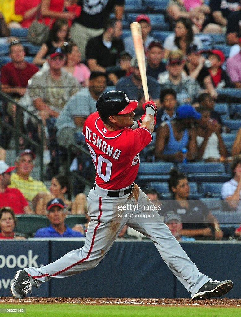 Ian Desmond #20 of the Washington Nationals hits a sixth inning home run against the Atlanta Braves at Turner Field on June 2, 2013 in Atlanta, Georgia.
