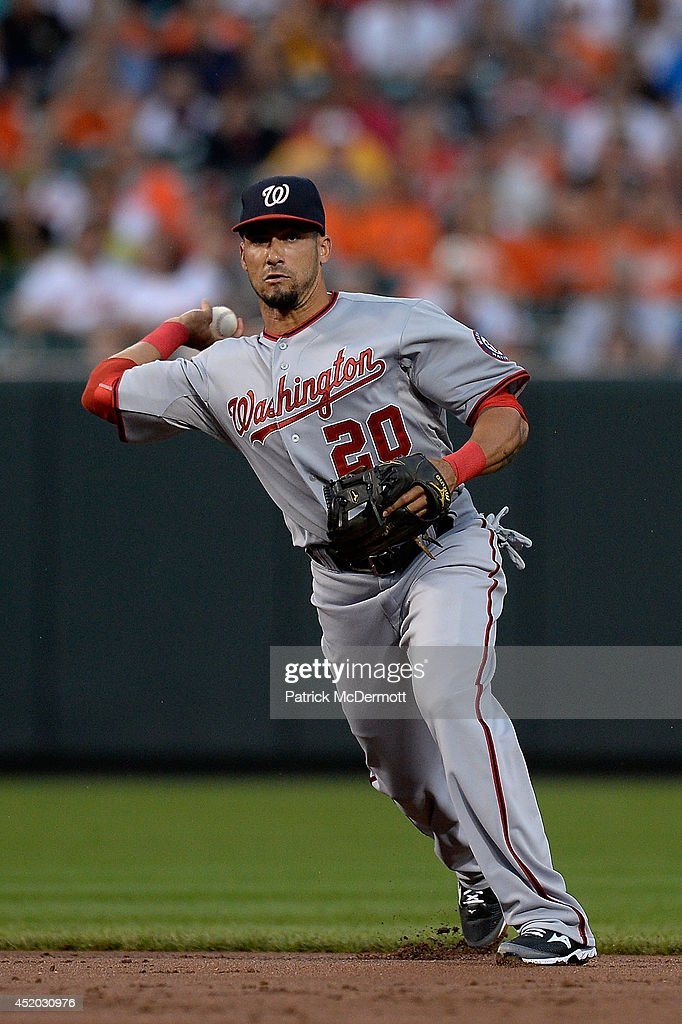 Ian Desmond #20 of the Washington Nationals makes a throw to first base in the second inning during a game against the Baltimore Orioles at Oriole Park at Camden Yards on July 10, 2014 in Baltimore, Maryland.