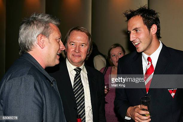 Ian 'Dicko' Dickson Glen Wheatley and Sydney Swans player Tadhg Kennelly chat at the Big Night Out Cocktail Party to promote the upcoming Sydney...