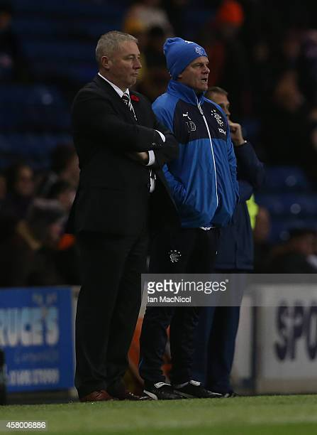 Ian Durrant assistant manager of Rangers and Ally McCoist manager of Rangers both look on during the Rangers v St Johnstone Scottish League Cup...