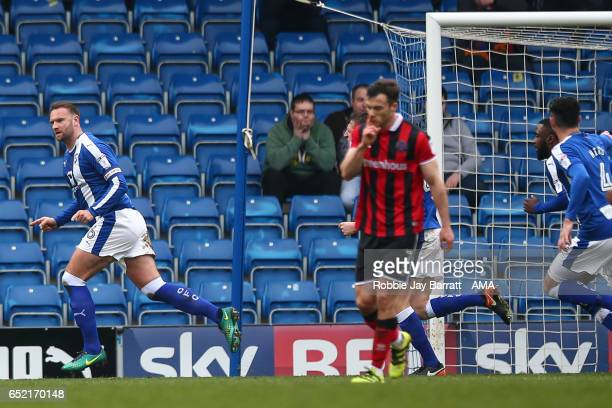 Ian Evatt of Chesterfield celebrates after scoring a goal to make it 11 during the Sky Bet League One match between Chesterfield and Shrewsbury Town...