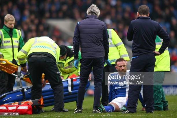 Ian Evatt of Chesterfield goes off injured during the Sky Bet League One match between Chesterfield and Shrewsbury Town at Proact Stadium on March 11...