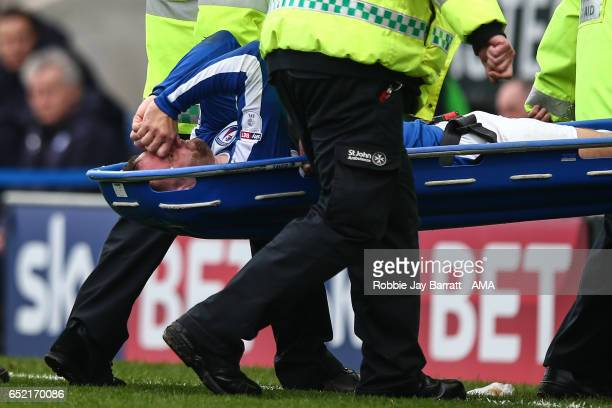 Ian Evatt of Chesterfield goes off injured on a stretcher during the Sky Bet League One match between Chesterfield and Shrewsbury Town at Proact...