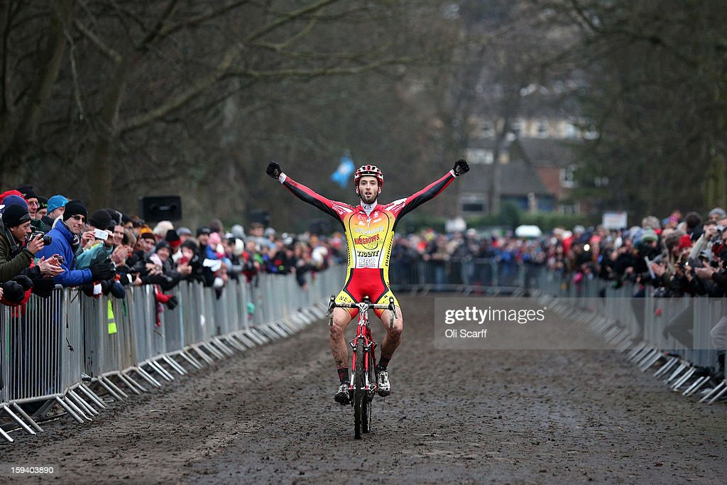 Ian Field crosses the line to retain his UK National Cyclocross Champion title at the 2013 National Cyclo-Cross Championships in Peel Park on January 13, 2013 in Bradford, England. The sport of cyclo-cross, featuring ,lightweight bikes with off-road tyres, has dramatically increased in popularity over the past few years. Cyclo-cross courses are often run over a mixture of terrains from tarmac to mud and frequently include obstacles or steep inclines where riders have to carry their bike.