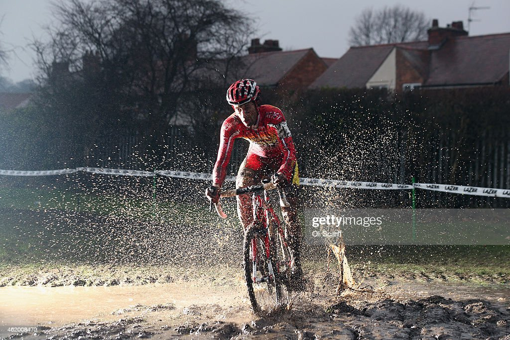 Ian Field on his way to winning the Men's Championship at the 2014 National Cyclo-Cross Championships at Moorways Leisure Centre on January 12, 2014 in Derby, England. The sport of cyclo-cross, featuring ,lightweight bikes with off-road tyres, has dramatically increased in popularity over the past few years. Cyclo-cross courses are often run over a mixture of terrains from tarmac to mud and frequently include obstacles or steep inclines where riders have to carry their bike.