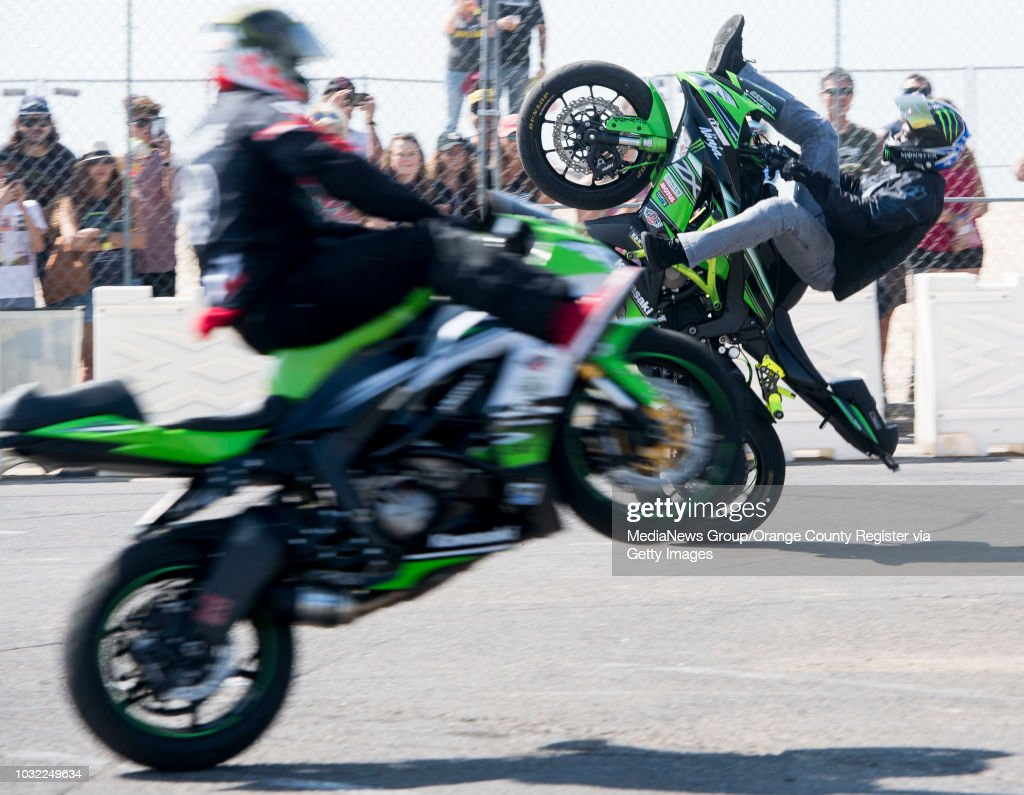 Ian Gaines, left, and Jason Britton perform in the No Limits Stunt