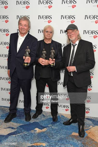 Ian Gillan, Ian Paice and Roger Glover of Deep Purple winners of Ivor Novello Award for International Achievement pose in the winners room at The...