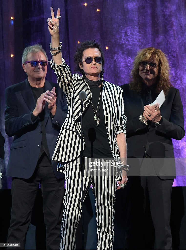 Ian Gillian, Glenn Hughes, and David Coverdale of Deep Purple speak on stage at the 31st Annual Rock And Roll Hall Of Fame Induction Ceremony at Barclays Center on April 8, 2016 in New York City.