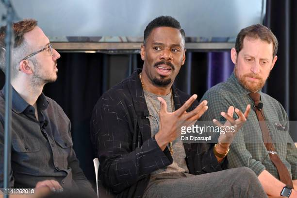Ian Goldberg Colman Domingo and Scott Gimple speak onstage during the How Stories Are Told Voices of Genre panel at the AMC Network Summit on April...