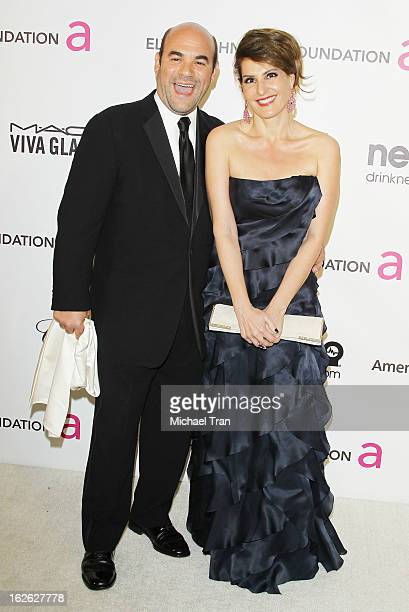 Ian Gomez and Nia Vardalos arrive at the 21st Annual Elton John AIDS Foundation Academy Awards viewing party held at West Hollywood Park on February...