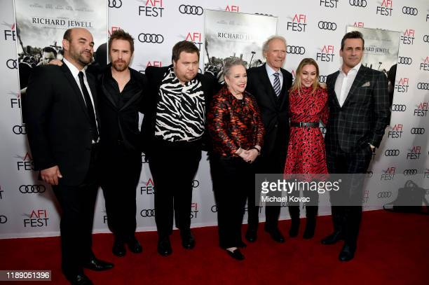 Ian Gomez Sam Rockwell Paul Walter Hauser Kathy Bates Clint Eastwood Blair Rich and Jon Hamm attend the Richard Jewell premiere during AFI FEST 2019...