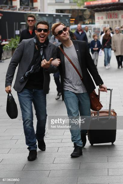 Ian 'H' Watkins and Lee LatchfordEvans from Steps seen leaving the Global Radio Studios on April 25 2017 in London England
