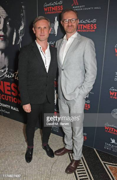 "Ian Hallard and Mark Gatiss attend the 2nd birthday Gala Night performance of ""Agatha Christie's Witness for the Prosecution"" at London County Hall..."