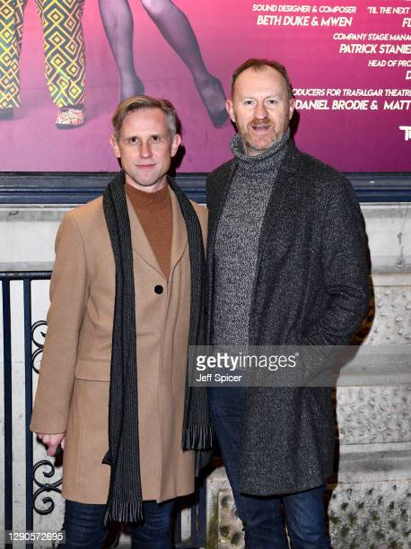"Ian Hallard and Mark Gatiss attend the ""Death Drop"" press night at Garrick Theatre on December 10, 2020 in London, England."