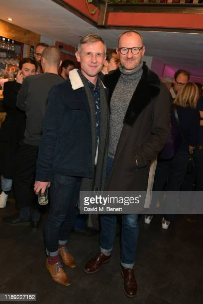"Ian Hallard and Mark Gatiss attend the press night after party for ""Escape From Planet Trash"" at The Pleasance Theatre on November 21, 2019 in..."