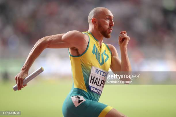 Ian Halpin of Australia competes in the Men's 4x400 metres relay heats during day nine of 17th IAAF World Athletics Championships Doha 2019 at...