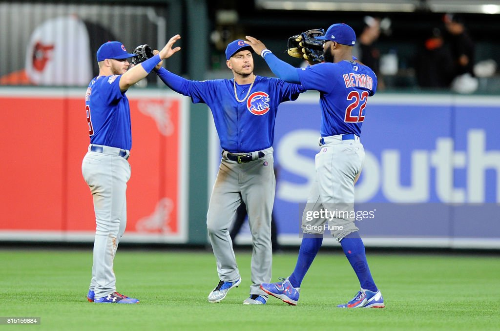 Ian Happ #8, Albert Almora Jr. #5 and Jason Heyward #22 of the Chicago Cubs celebrate after a 10-3 victory against the Baltimore Orioles at Oriole Park at Camden Yards on July 15, 2017 in Baltimore, Maryland.