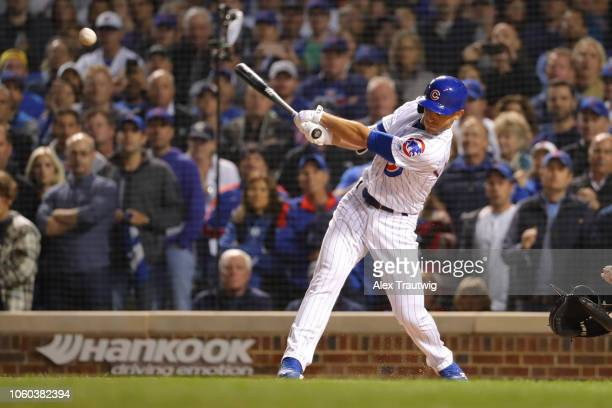Ian Happ of the Chicago Cubs bats during the National League Wild Card game against the Colorado Rockies at Wrigley Field on Tuesday October 2 2018...
