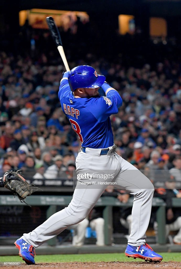 Ian Happ #8 of the Chicago Cubs hits an RBI double scoring Willson Contreras #40 against the San Francisco Giants in the top of the six inning at AT&T Park on August 8, 2017 in San Francisco, California.