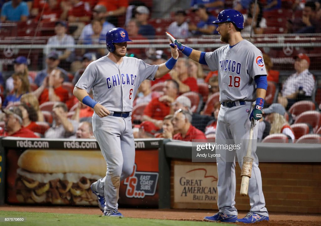 Ian Happ #8 of the Chicago Cubs is congratulated after scoring in the 8th inning by Ben Zobrist #18 against the Cincinnati Reds at Great American Ball Park on August 22, 2017 in Cincinnati, Ohio.