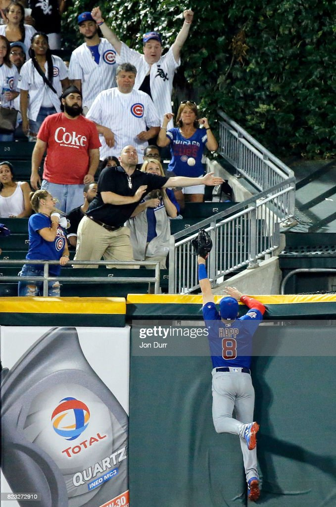 Ian Happ #8 of the Chicago Cubs is unable to catch the homerun ball of Yoan Moncada #10 of the Chicago White Sox (not pictured) during the seventh inning at Guaranteed Rate Field on July 26, 2017 in Chicago, Illinois.
