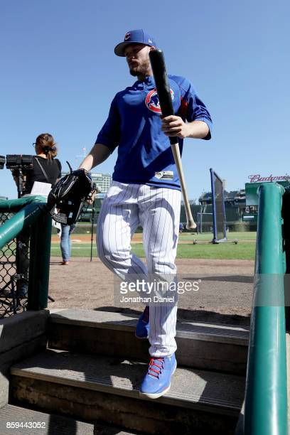 Ian Happ of the Chicago Cubs walks off the field before game three of the National League Division Series against the Washington Nationals at Wrigley...