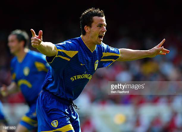 Ian Harte of Leeds United celebrates scoring the second goal during the FA Barclaycard Premiership match between Arsenal and Leeds United held on May...