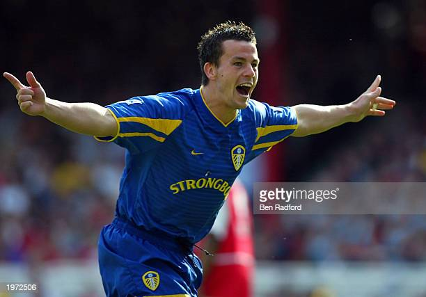 Ian Harte of Leeds United celebrates scoring their second goal during the FA Barclaycard Premiership match between Arsenal and Leeds United at...