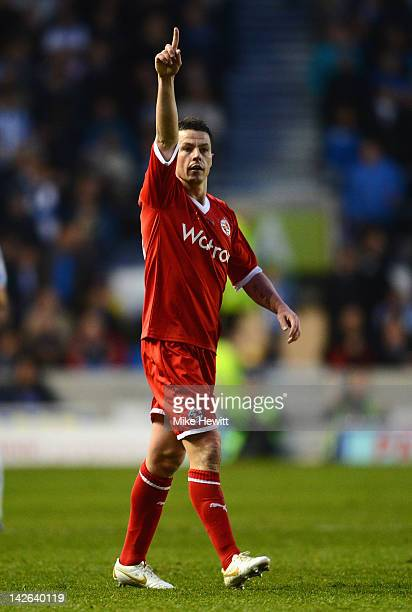 Ian Harte of Reading celebrates after scoring during the npower Championship match between Brighton Hove Albion and Reading at Amex Stadium on April...