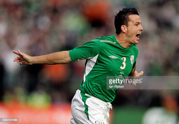 Ian Harte of Republic of Ireland celibrates scoring a goal during the Group Four World Cup 2006 qualifying match between Republic of Ireland and...
