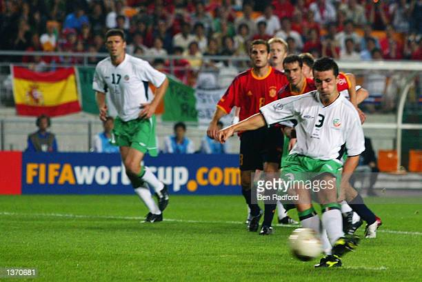 Ian Harte of the Republic of Ireland misses a penalty kick during the FIFA World Cup Finals 2002 Second Round match between Spain and Republic of...
