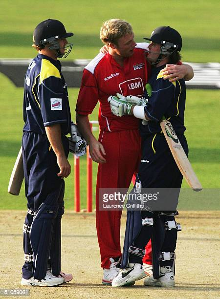 Ian Harvey of Yorkshire gets a hug from Andrew Flintoff of Lancashire after his match winning innings during the Twenty20 Cup match between Yorkshire...