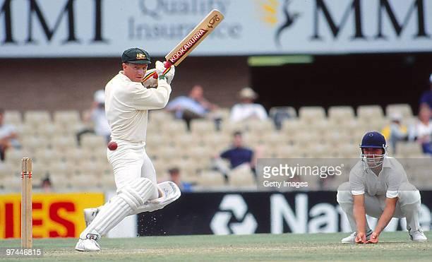 Ian Healy of Australia bats as Alec Stewart of England fields inclose on January 8 1991 in Australia