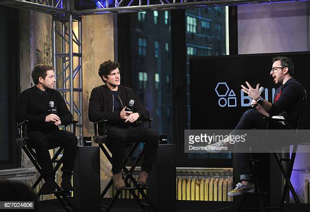 Ian Hecox and Anthony Padilla speak with moderator Matt Forte during Build Presents 'Ghostmates' at AOL HQ on December 1 2016 in New York City