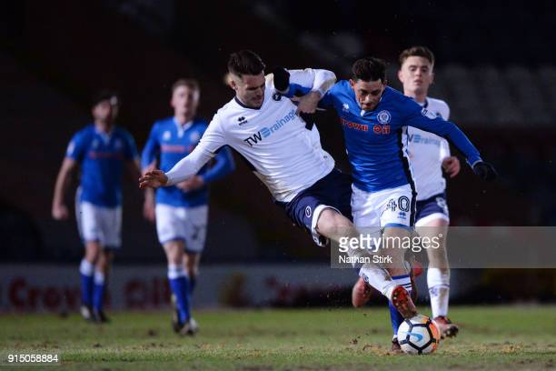 Ian Henderson of Rochdale AFC and Jason Shackell of Millwall in action during The Emirates FA Cup Fourth Round Replay match between Rochdale AFC and...