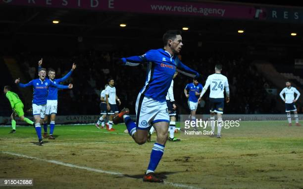 Ian Henderson of Rochdale AFC celebrates after scoring his sides first goal during The Emirates FA Cup Fourth Round match between Rochdale AFC and...