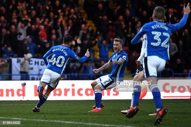 Ian Henderson of Rochdale AFC celebrates scoring the first goal with Jordan Slew of Rochdale AFC during The Emirates FA Cup Fifth Round match between...