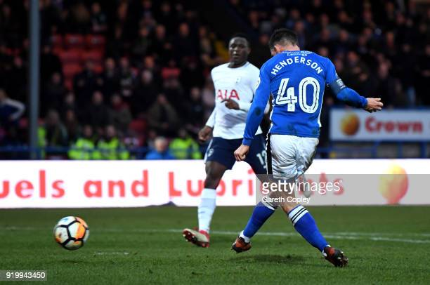 Ian Henderson of Rochdale AFC scores the first goal during The Emirates FA Cup Fifth Round match between Rochdale and Tottenham Hotspur on February...