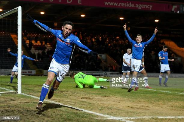 Ian Henderson of Rochdale celebrates after scoring a goal to make it 10 during The Emirates FA Cup Fourth Round Replay at Spotland Stadium on...