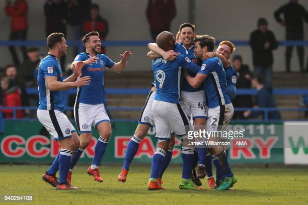 Ian Henderson of Rochdale celebrates after scoring a goal to make it 31 during the Sky Bet League One match between Rochdale and Shrewsbury Town at...