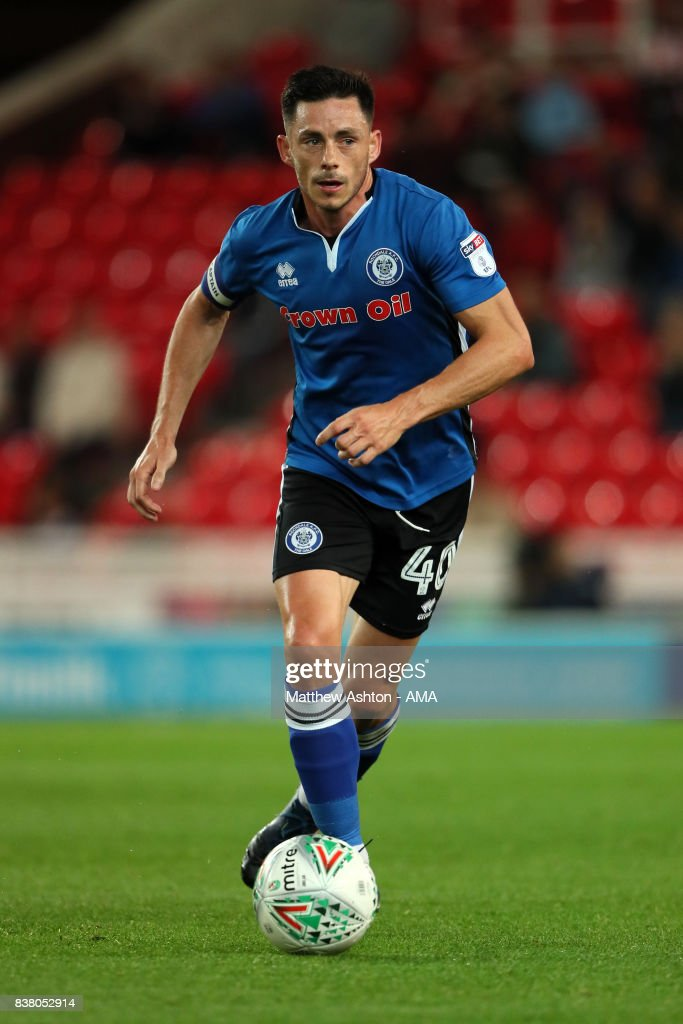 Ian Henderson of Rochdale during the Carabao Cup Second Round match between Stoke City and Rochdale at Bet365 Stadium on August 23, 2017 in Stoke on Trent, England.