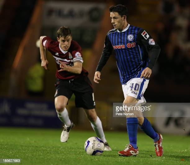 Ian Henderson of Rochdale moves forward with the ball during the Sky Bet League Two match between Rochdale and Northampton Town at Spotland Stadium...