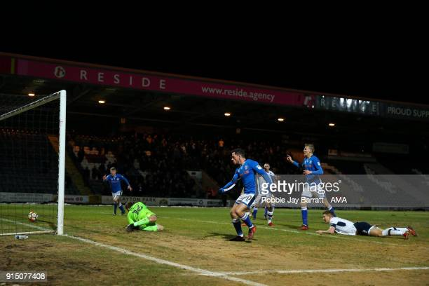 Ian Henderson of Rochdale scores a goal to make it 10 during The Emirates FA Cup Fourth Round Replay at Spotland Stadium on February 6 2018 in...