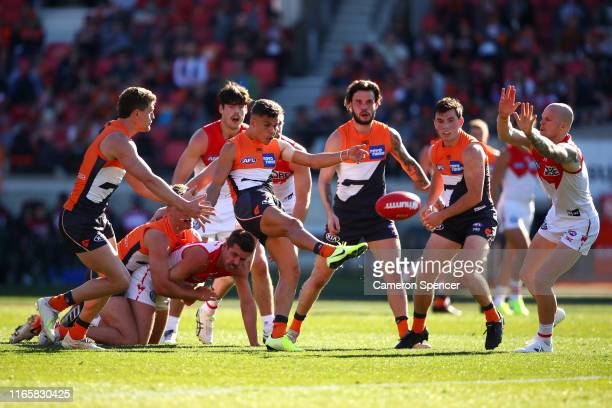 Ian Hill of the Giants kicks ahead during the round 20 AFL match between the Greater Western Sydney Giants and the Sydney Swans at GIANTS Stadium on...