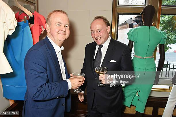 Ian Hislop and Andrew Roberts attend the launch of 'Les Parisiennes' by Anne Sebba at the Roland Mouret flagship store on July 14 2016 in London...