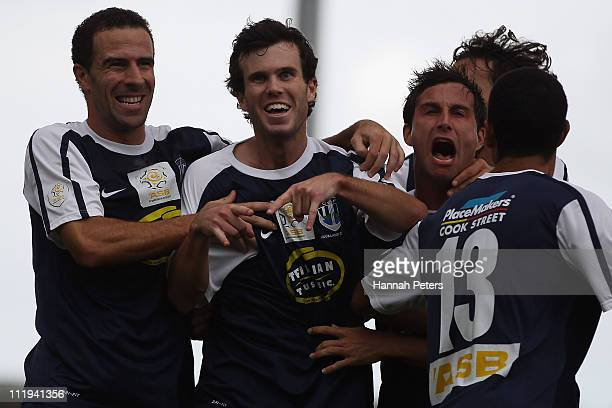 Ian Hogg of Auckland City celebrates scoring a goal during the ASB Premiership Final between Auckland City and Waitakere United at Trusts Stadium on...